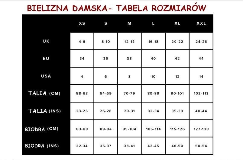 antybąkowa bielizna tabela rozmiarów na stronie z tabelą rozmiarów